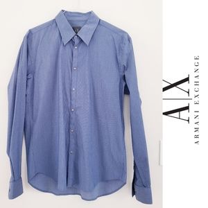 Armani Exchange Gunmetal Snap Blue Button Down